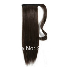 12''-28'' 6A quality Clip in straight brazilian virgin hair wrap around drawstring ponytails 100g