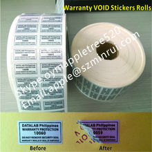 Custom Silver VOID Sticker With Serial Number,Glossy Silver Warranty VOID Sticker,Warranty Valid IF Seal Tampered Stickers Rolls