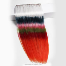 Hot selling omber hair extension clip in,long straight 24 inch clip hair extensions orange color hair exrension clip in