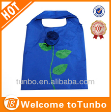Wholesale 190T polyester rose flower shopping bag easy carry