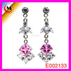 WEDDING DRESS ACCESSORY RHINE STONE JEWELRY LONG EARRING,COLORED STONE EARRING,PINK CRYSTAL EARRING FOR GIRLS