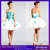 2014 Latest Design Puffy A-line Strapless Open Back Handmade Flower Appliqued Mini Green White Short Cocktail Dress(CD-036)