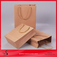 Sinicline custom logo printed package cheap kraft paper bag for clothing