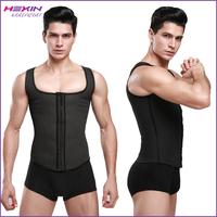 China Black 9 Steel Boned Latex Corset Men Vest Back Support Slimming Body Shaper