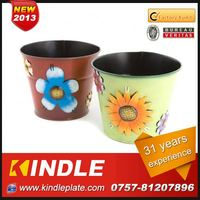 Kindle 2013 New polychrome frog metal cheap flower pots with 31 years experience