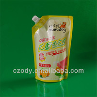Food grade safe hard plastic bags with spout cap