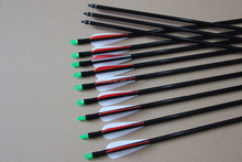 PA-0287 Fiber Glass Arrows with Plastic Red Feather for Archery Shooting Target and Hunting with Long Bow