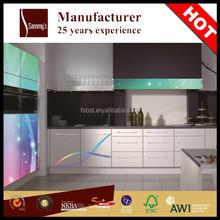 Modern colored glass kitchen cabinet doors alummium frame kitchen furniture on sale