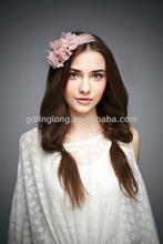 pink rose cheap cloth feather headbands for party girl dressing accessories