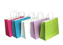 cheap customed kraft paper packing shopping bag