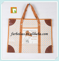 pp woven shopping bag zipper top with handle