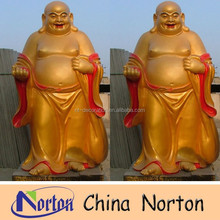 golden colored fiberglass smiling buddha statue NTRS074S