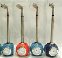 Golf ball desk sport clock with one golf shaped metal pen