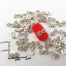 2015 hot sale full rhinestone bow tie 3d nail art design handmade finger nail art jewelry