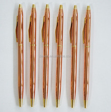 Hot Sale--Factory sales directly ,rose gold slim metal ball pen,brass pen with cross pen refill