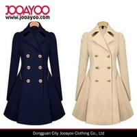 Women Winter Double Breasted Lapel Long Trench Dress Coat