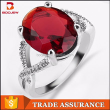high quality modern AAA red zircon ladies daily wear 925 sterling silverrings