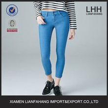 Ankle length low rise skinny lightweight denim jeans for women
