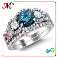 R7820 Jingmei fashion white gold clear cz clear and blue topaz zircon ring