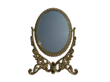 Oval shape mirror held by butterfly shape metal frame for jewelry display
