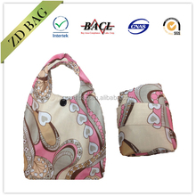 190t polyester folding bag with plastic button