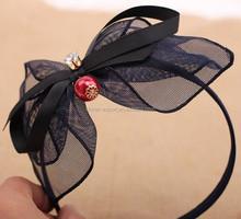 JPHAIR150514 2015 wholesale fashion European yarn mesh Women Girls& Kids bowknot stone Head Wrap Floral Headband new