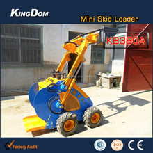 Wheel type mini loader-4in1 bucket operation, 4WD small backhoe loader with 0.15sqm