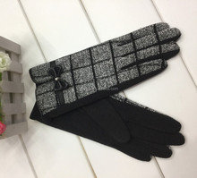 2015 Lovely Classic Bow Lady Black Spandex Velvet Gloves to keep warm