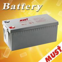 MUST long life valve regulated Lead Acid gel battery 200ah for inverter