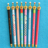 Free sample yiwu all kinds of pearl stationery in stock ,promotional metal crown design thick ballpoint pen
