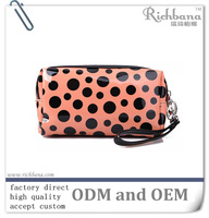 Fashion patent leather PU Polka dot handbag cosmetic bag