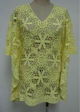 las mujeres occidentales del ganchillo de algodón de gran tamaño blusa