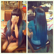 Stock Top Fashion 26 inch Straight 100% Unprocessed Brazilian Human Hair Lace Front Wigs With Bangs