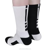 Wholesale high quality basketball elite tennis soccer sport socks cotton towel socks men and women socks black/white