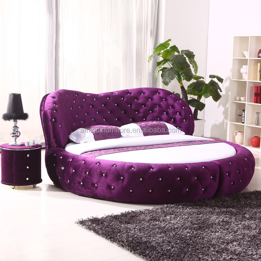 2015 Luxury Fabric Round Bed Circle Bed Frame On Sale