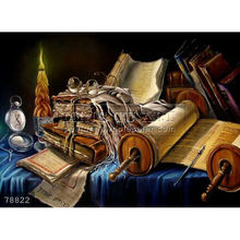 Hand painted Judaica still life oil painting Jewish Art on canvas, Still Life With The Open Torah (alex Levin)