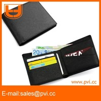 Cross Grain Leather Thin Wallet With RFID Security Block