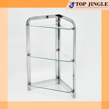 Chrome Plated Bathroom Corner Stand 3 Tier Glass Shelf