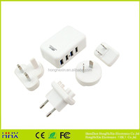New type us eu style 5v 3a 4 port usb home travel charger