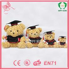 HI CE plush teddy bear, graduation teddy bear, doctor teddy bear