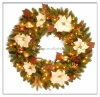 Lightted Wreath with Fabric Flowers for Wedding Party Decoration/High Quality Christmas wreath with LED Light/Flower PVC Wreath
