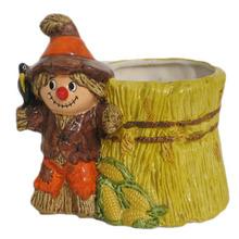 Thanksgiving Halloween Scarecrow Vintage Ceramic Pottery Flower Pot