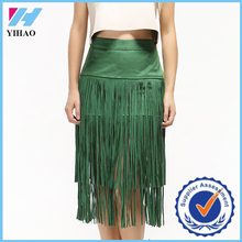 Dongguan Yihao 2015 fashion style high quality faux suede skirt with tassel fashional suede leather skirt