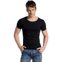 OEM men plain short sleeve t shirt closing fitting casual t shirt in 100% cotton round collar