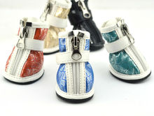 Fashion PU leather Pet Shoes Silver Reticular Print Waterproof Dog Boots [PDS-005E]