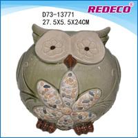 Small ceramic garden owl sculpture ornaments