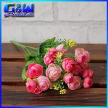 Indoor Table Decorative Plastic Flower Rose Cheap artificial flower mini Bouquet for Cheap Wholesale