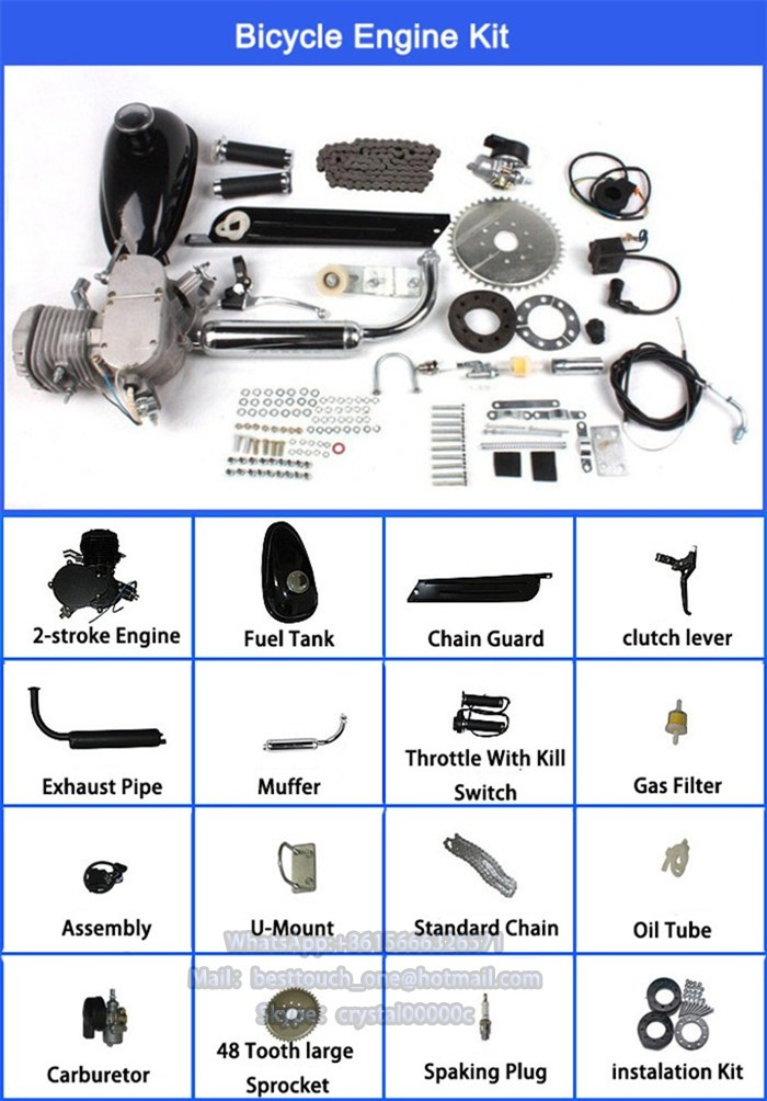Powered scooter gas motorized bike 48cc 60cc 80cc 2 stroke bicycle engine kit