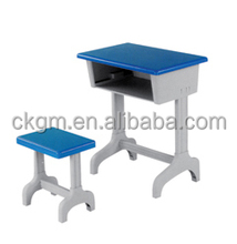 plastic school desk and chair with singel legs for used kids school furniture