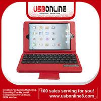 Wholesale Removeable PU leather Wireless Bluetooth Keyboard Case for iPad Mini iPad 4 Red IPMK0005